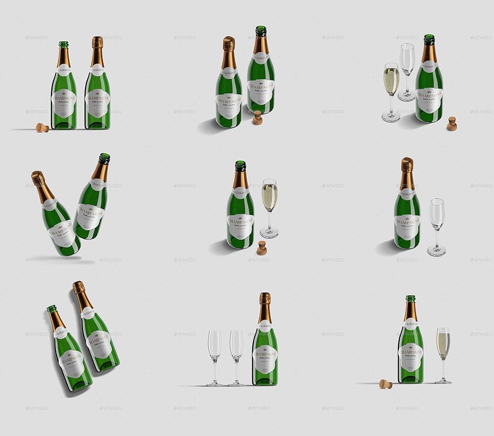 Champagne Bottle Mockup Pack