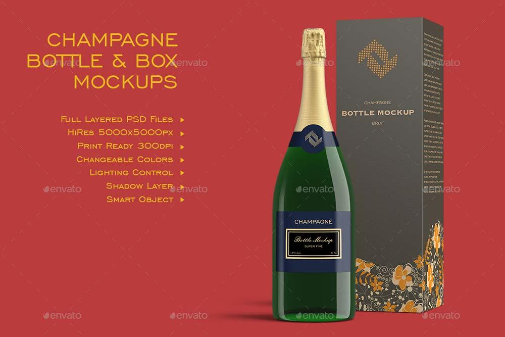 Champagner Bottles & Boxes Mockup