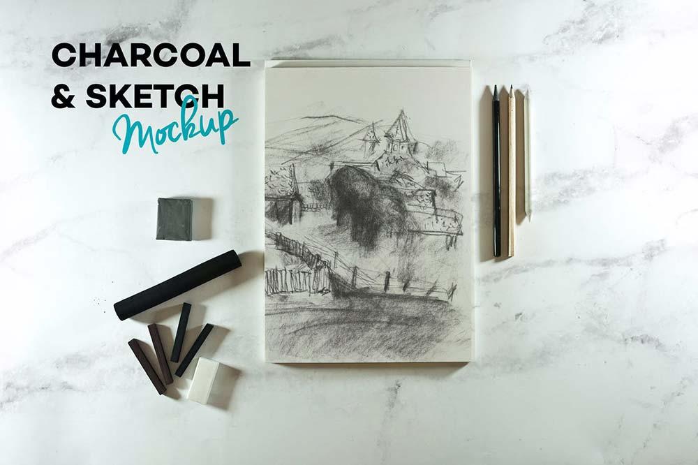 Charcoal & Sketch Mockup