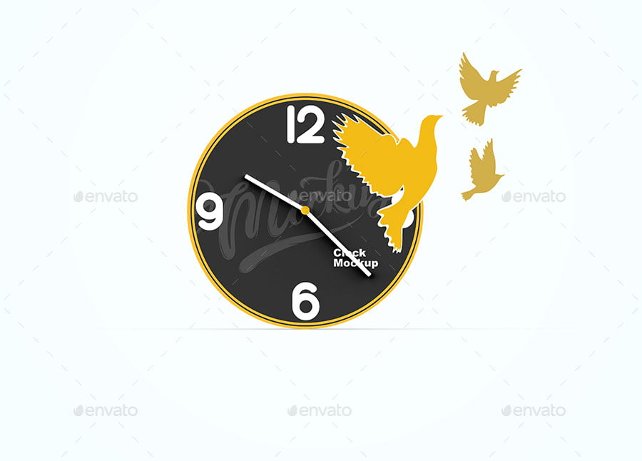 Clock With Birds Cutout Mockup