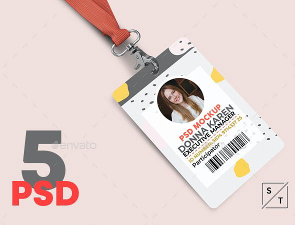 Corporate ID Card With Lanyard PSD Mockup