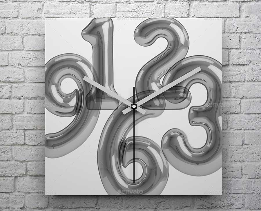 Square wall clock Mock-up