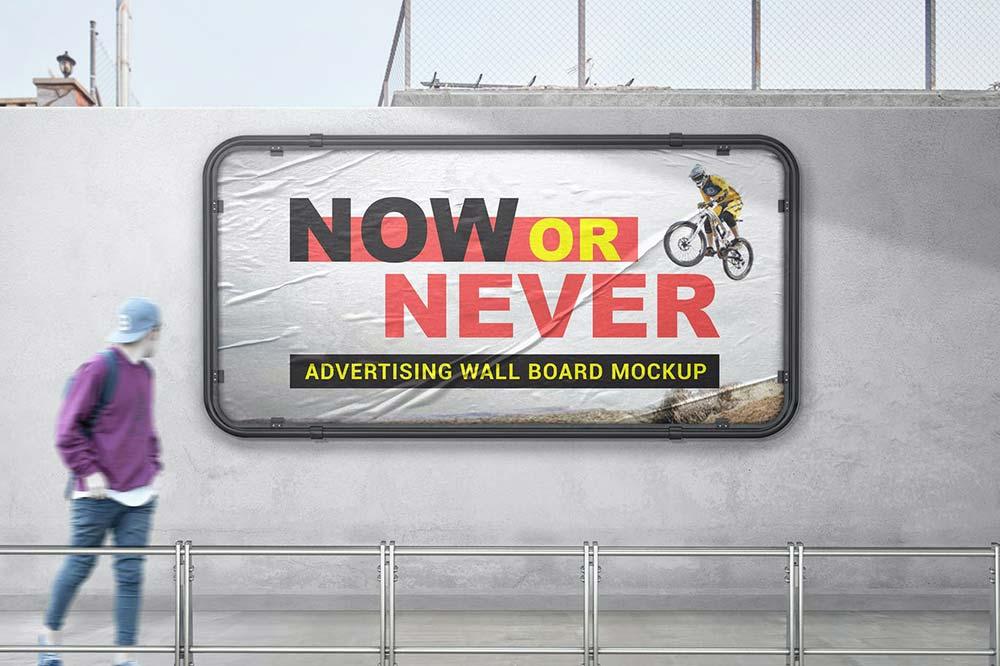 Advertising Wall Board Mockup