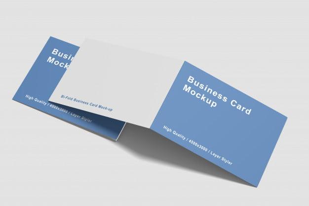 Folded Business Card Mockup PSD Templates
