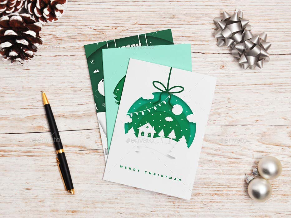 Folded Christmas Card Mock-up