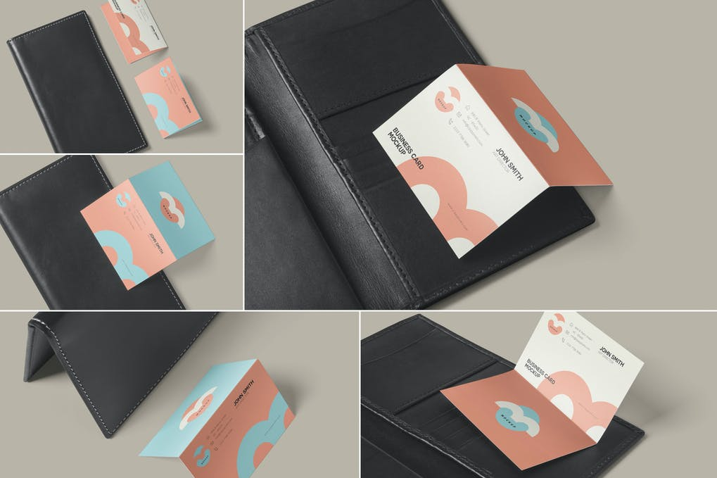 Two Fold Business Card Mockups