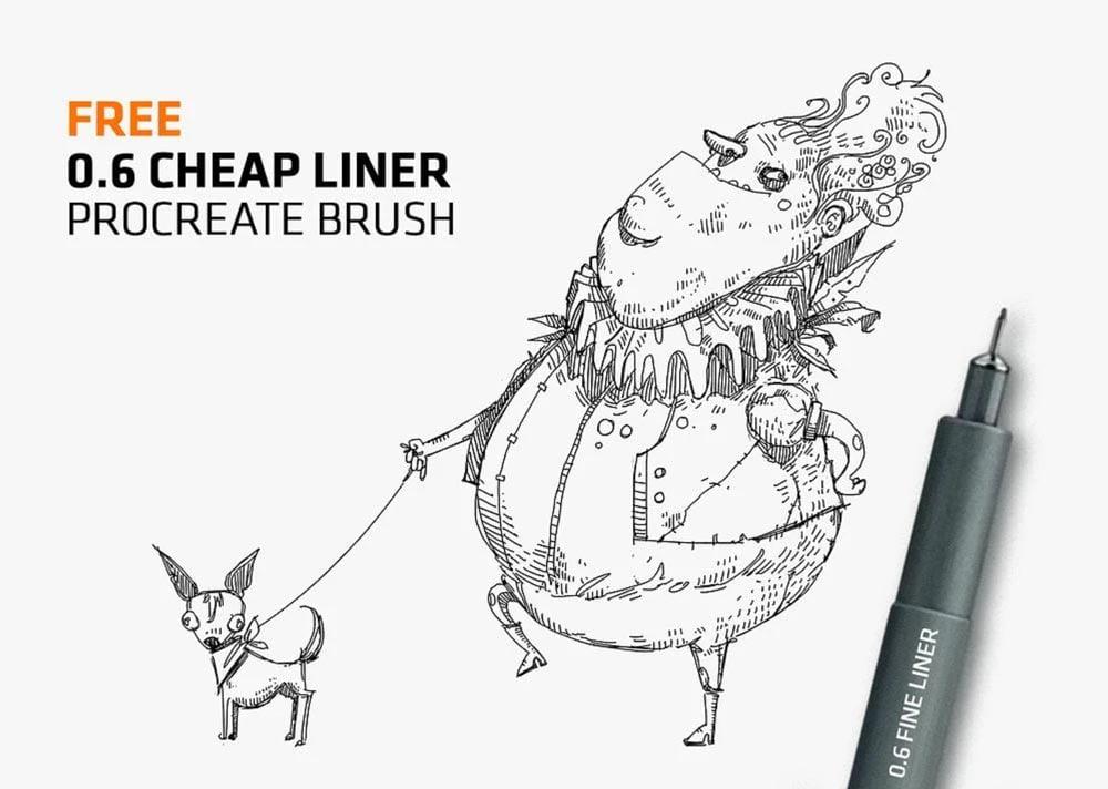 Free Cheap Fine-Liner Brush for Procreate