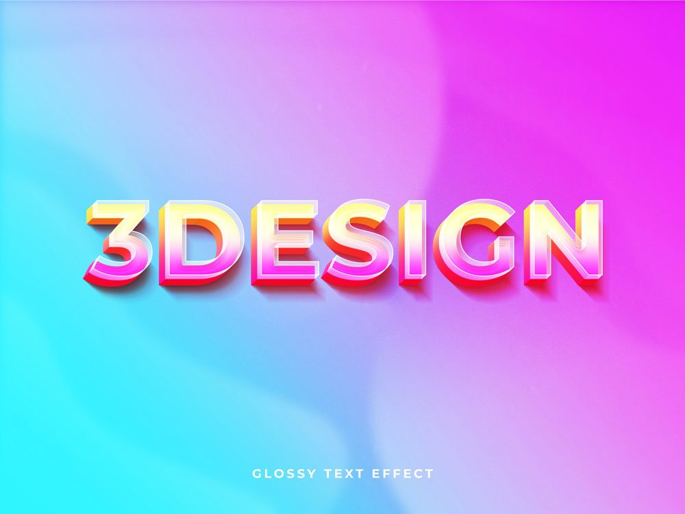 Free Glossy 3D Text Effect