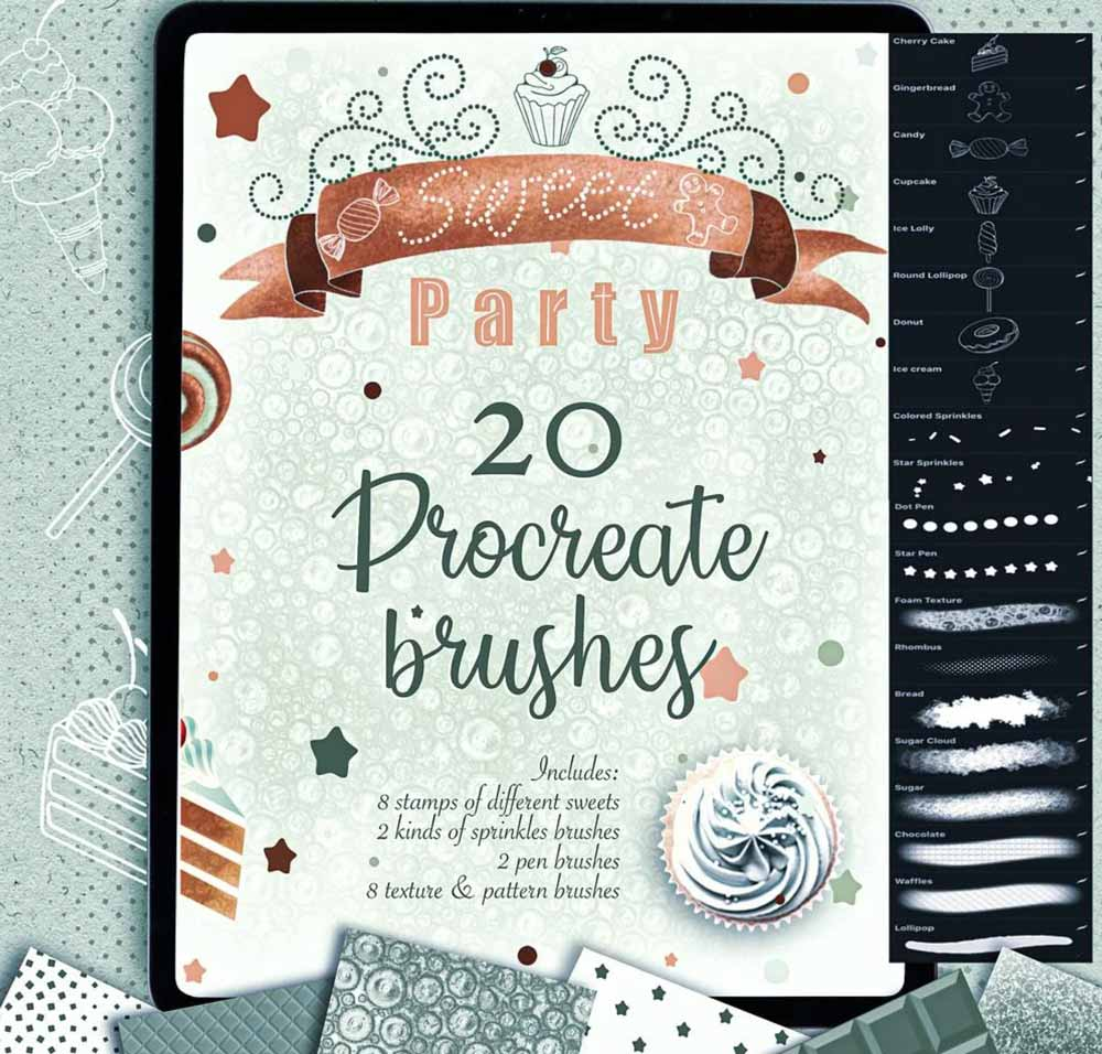 Free Taty Sweet Party Textures and Stamps