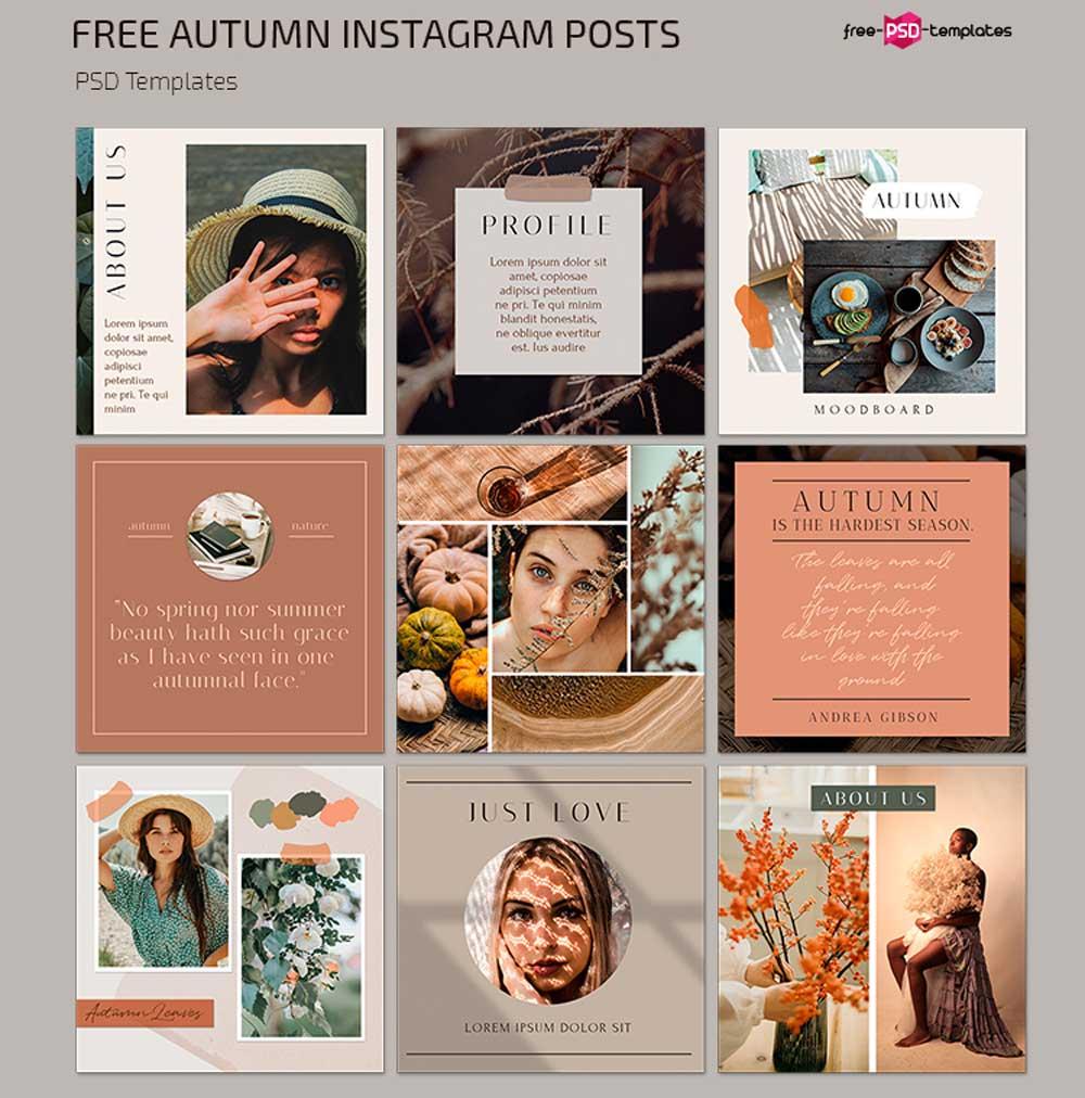 Free Autumn Mood Instagram Posts Template