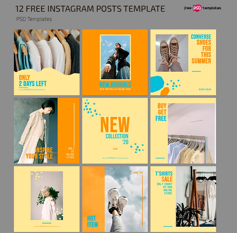 Free Clothes Shop Instagram Posts Template