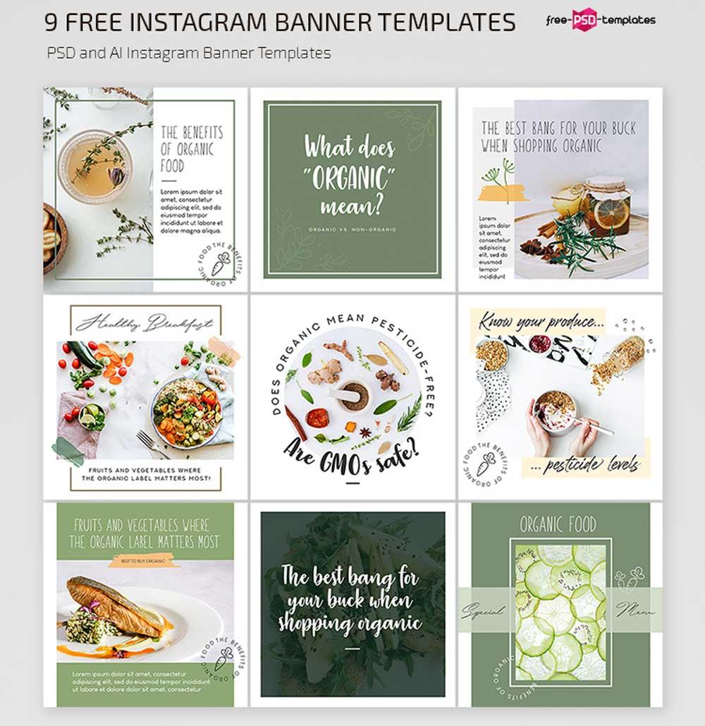 Free Organic Food Instagram Templates