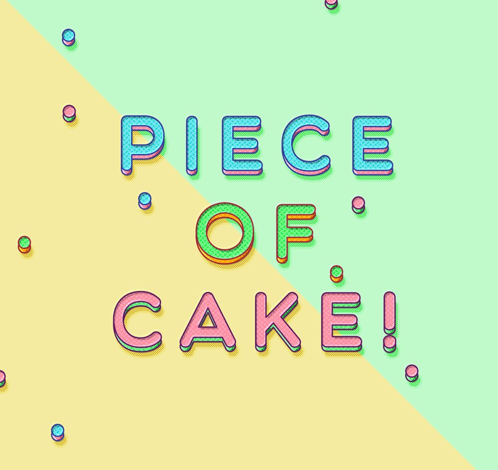 Free Piece of Cake Text Effect