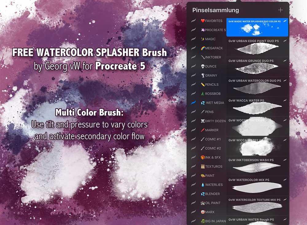 Free Watercolor Splash & Splatter Dual Brush for Procreate