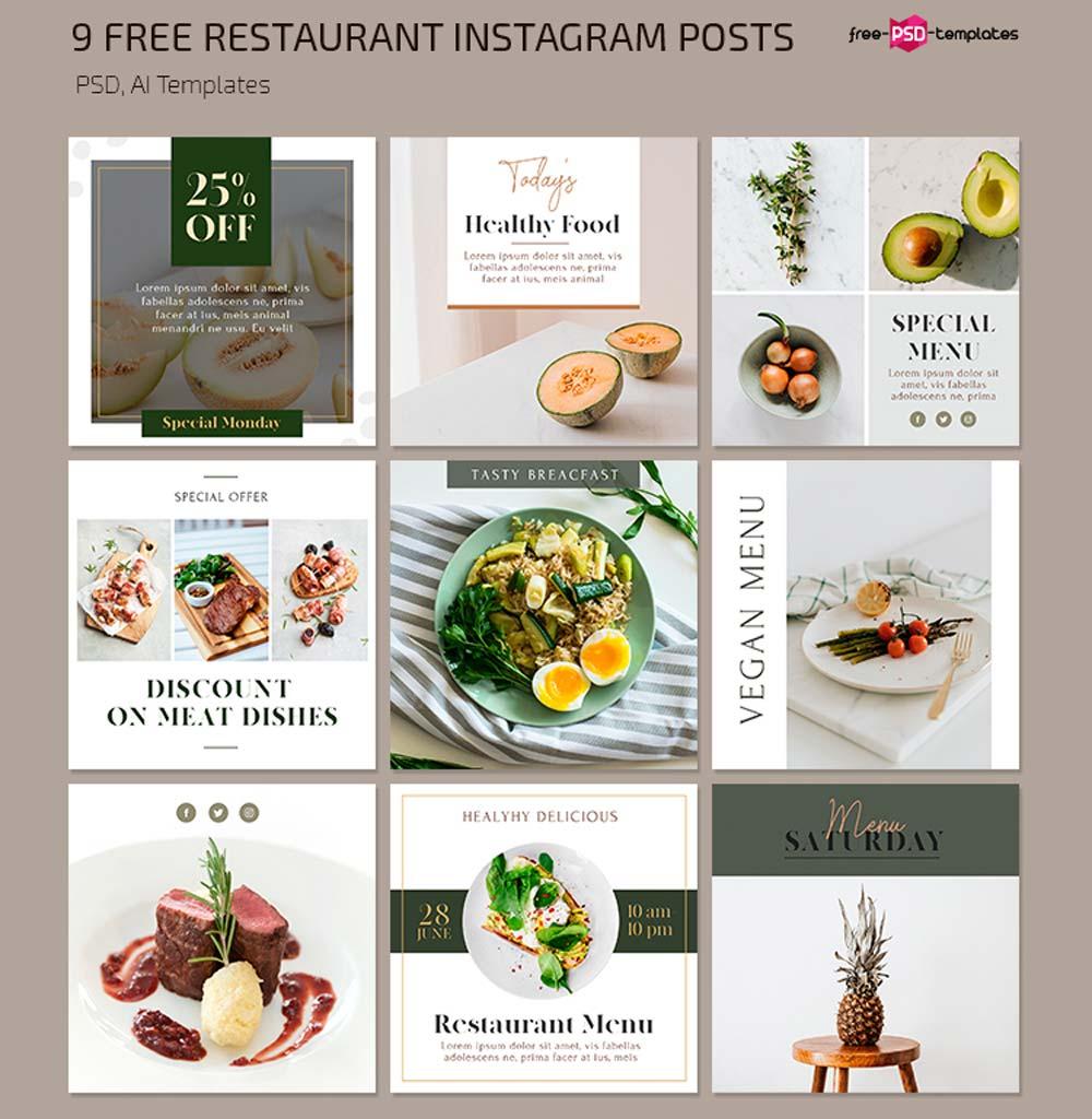 Free Restaurant Instagram Posts