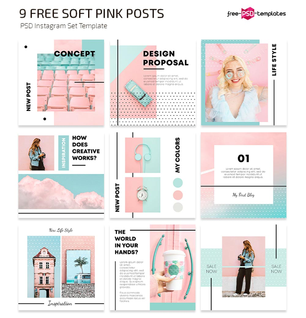Free Soft Pink Instagram Posts Template