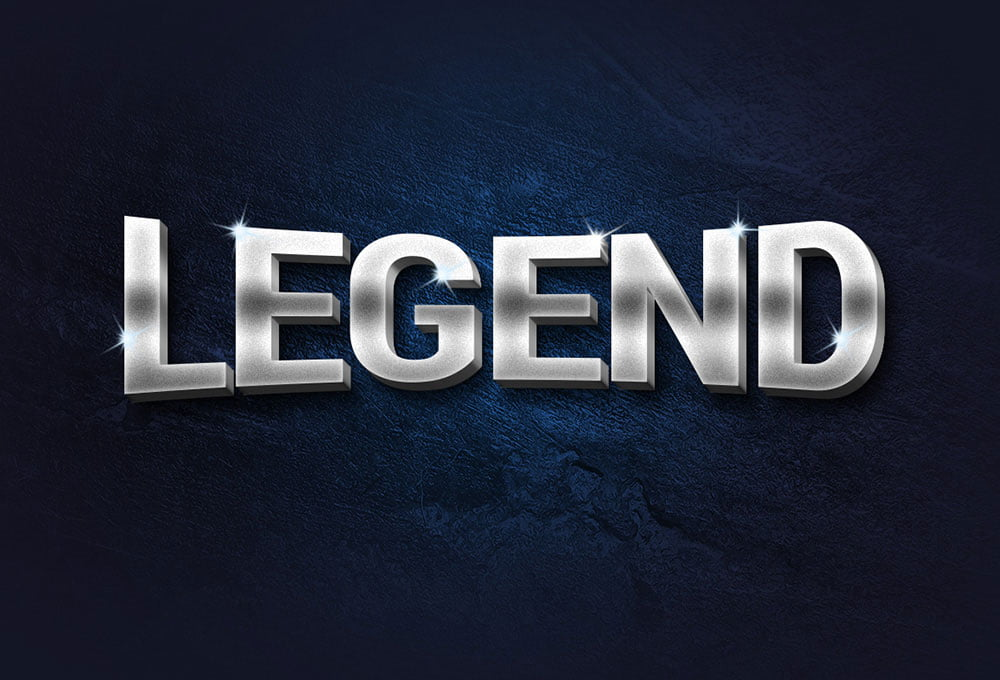 Free Legend 3D Metal Text Effect