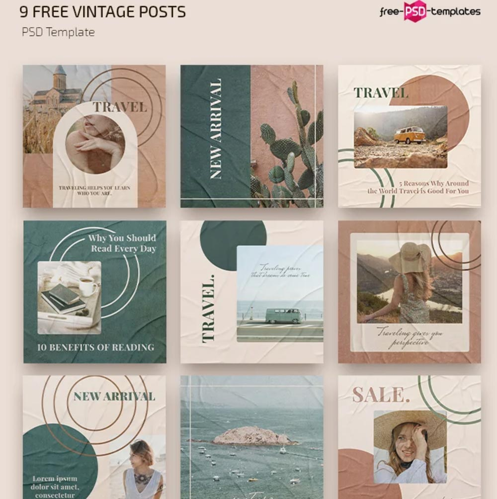 Free Vintage Instagram Posts Templates