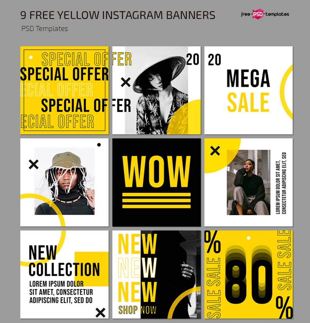 Free Yellow Instagram Posts Template