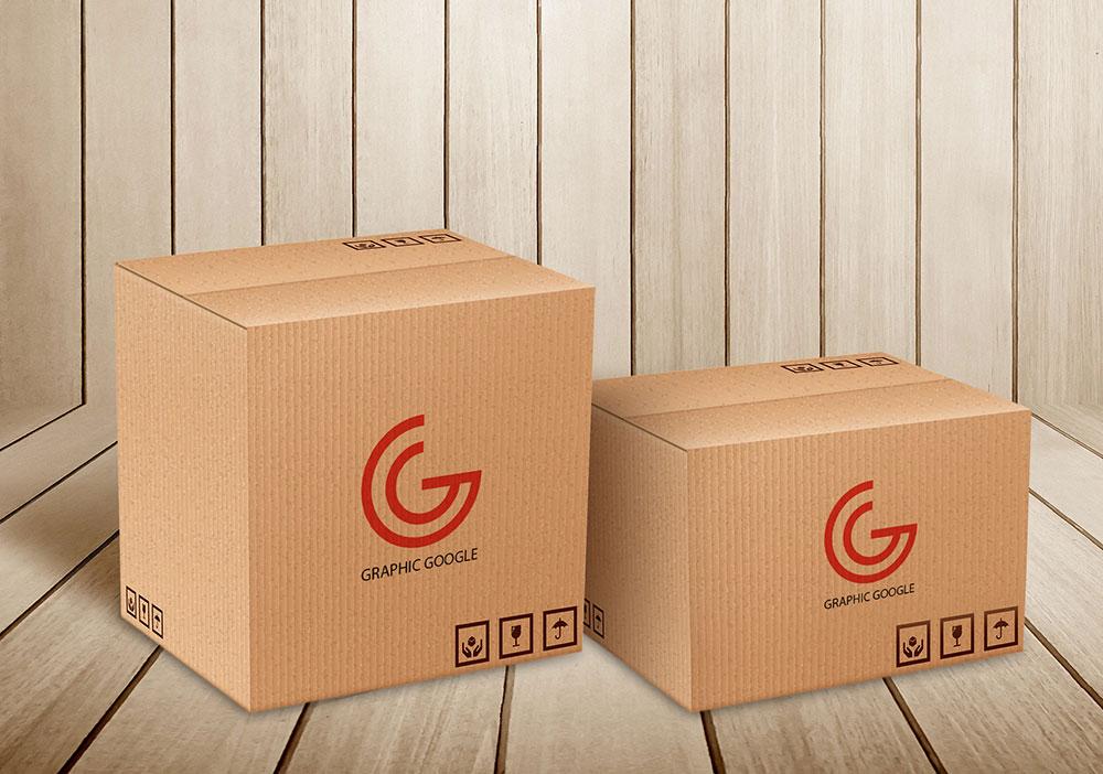 Free Carton Delivery Box Mockup