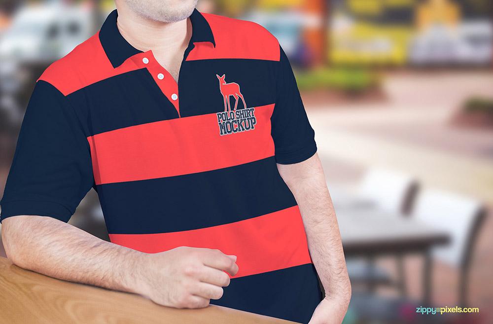 Free Men Polo Shirt Mockup