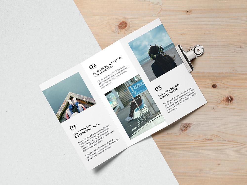 Free Top Tri Fold Brochure Mockup