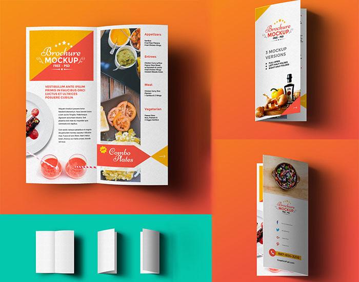 Free PSD Bi-fold Brochure Mockup | Mockuptree