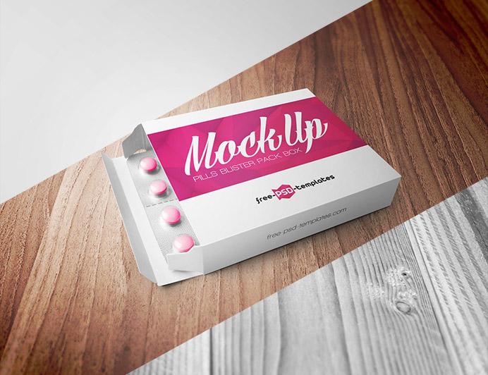 Free Pills Blister Box Mockup