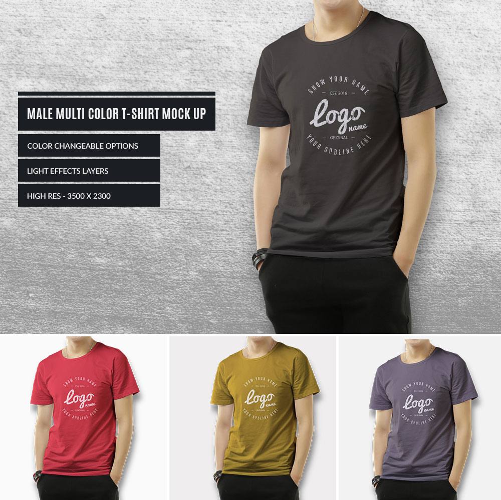multi color t shirt mock up 1