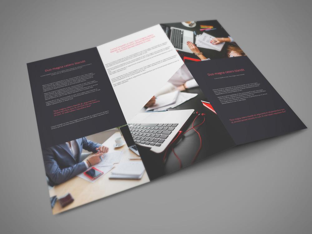 Free Realistic Tri Fold Brochure Mockup