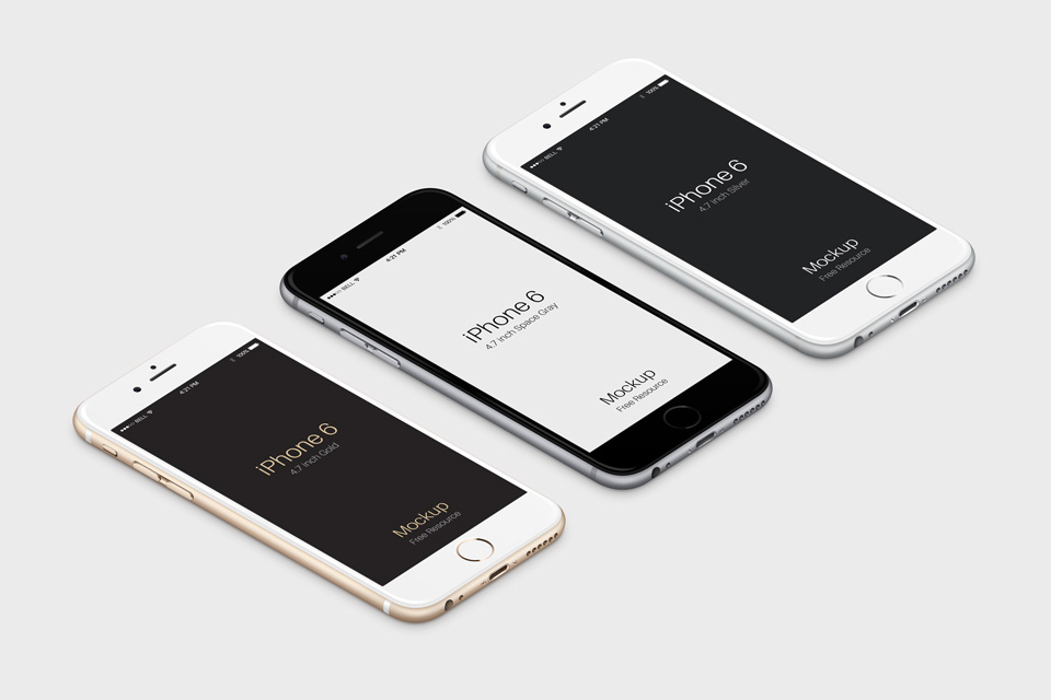Free 3D View iPhone 6 Mockup