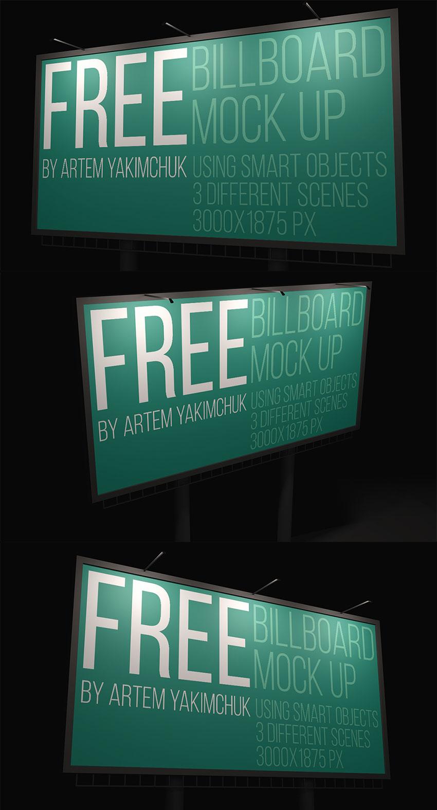 Free Night Billboard Mockup
