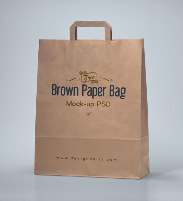 Free Brown Shopping Bag Mockup