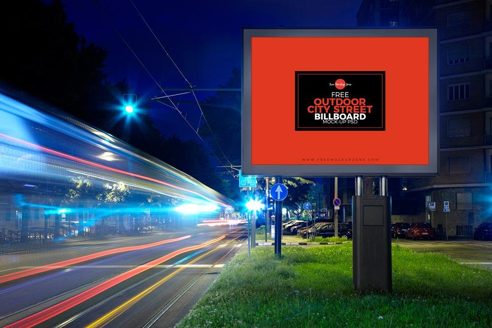 Free City Street Billboard Mockup