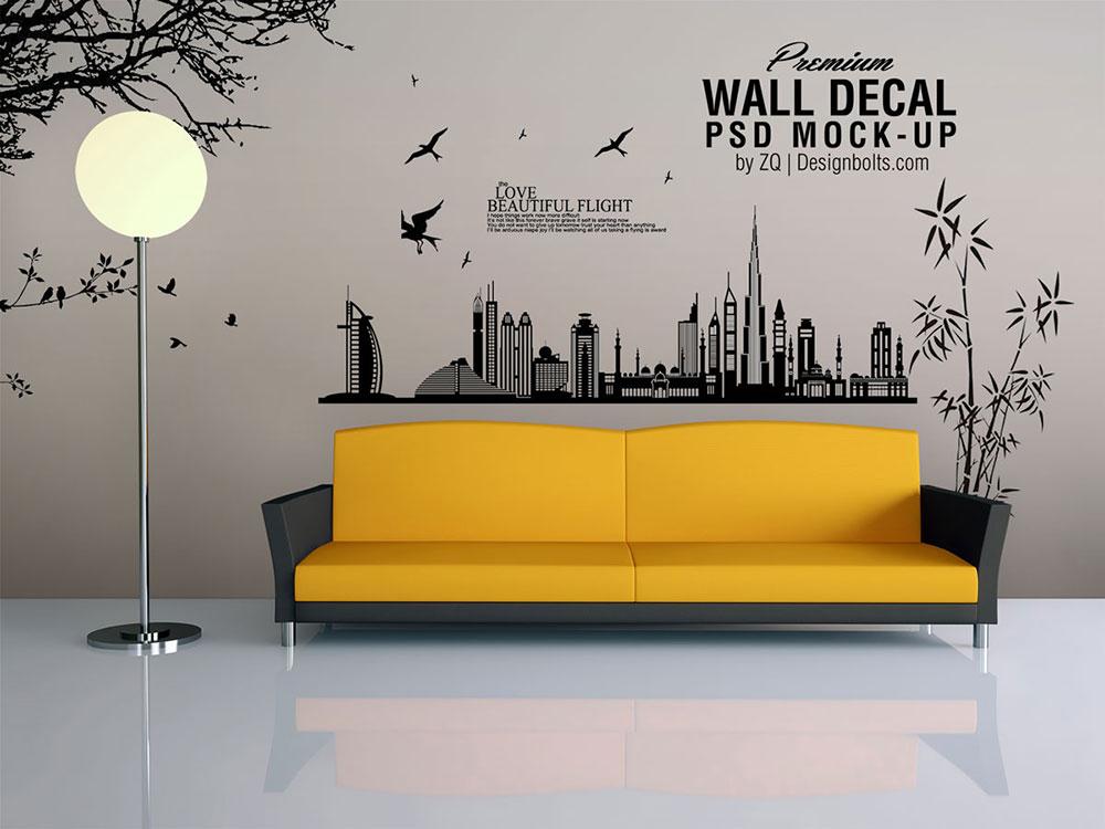 Free Vinyl Wall Decal Mockup Mockuptree