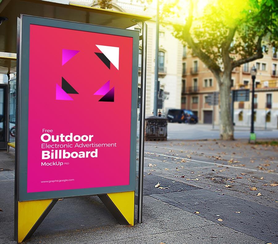 Free Outdoor Electronic Billboard Mockup