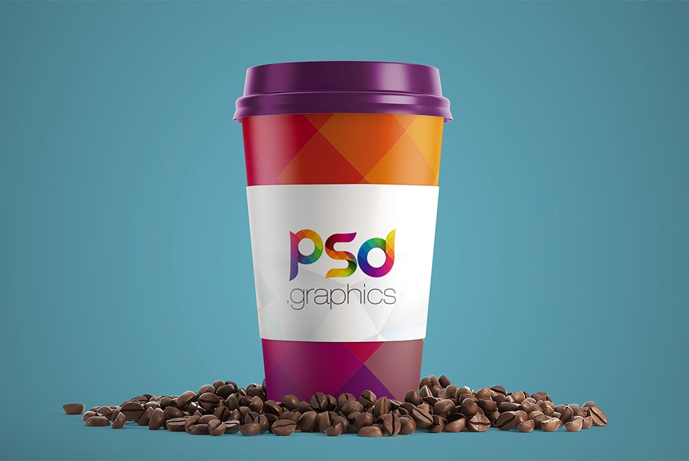 Free Realistic Paper Coffee Cup Mockup