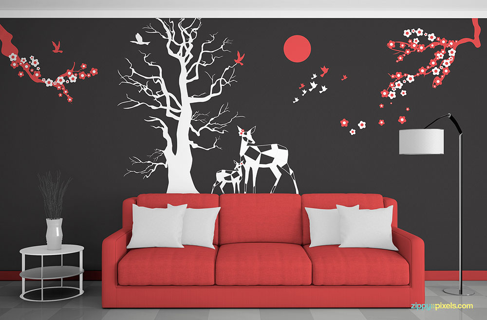 Free Wall Art Mockup in Room