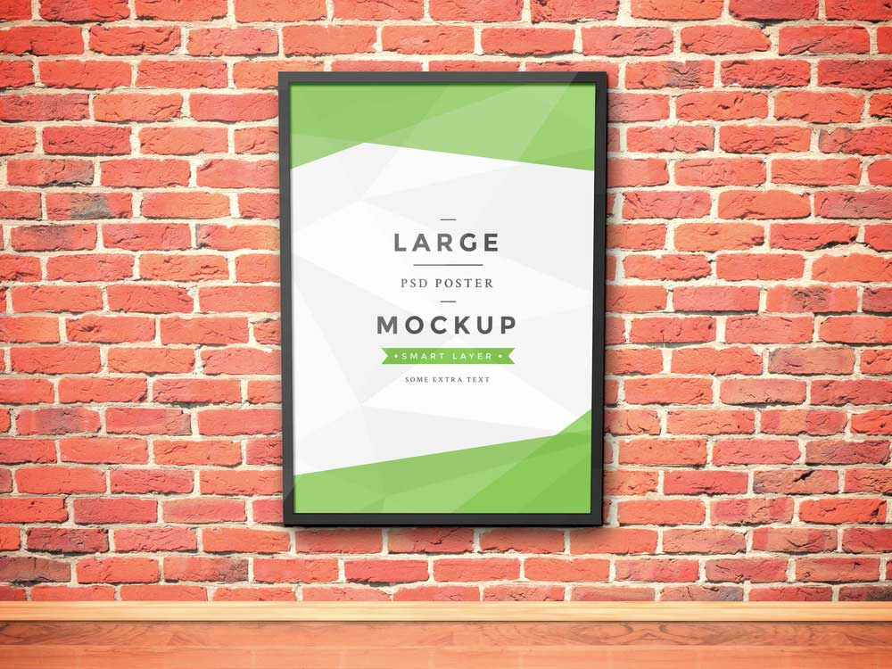Free Frame Mockup with Wall Background