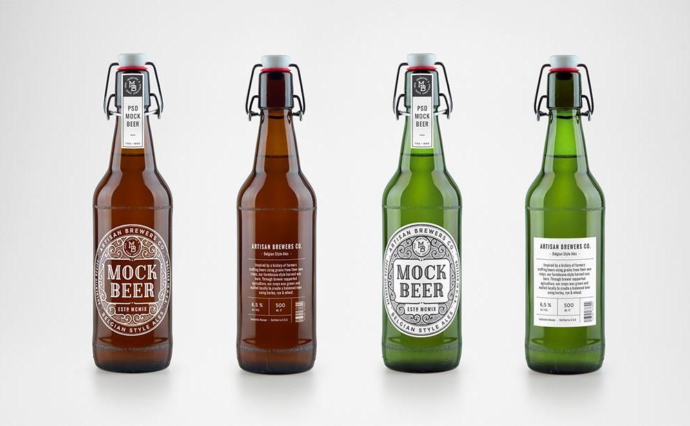 Free Artisan Beer Bottle Mockup