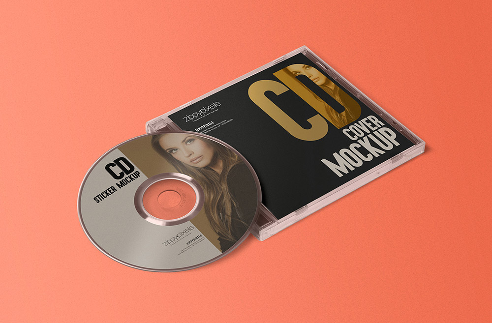 Free CD Case & Label Mockup