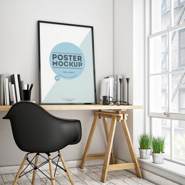 Free Poster Mockup in a Room