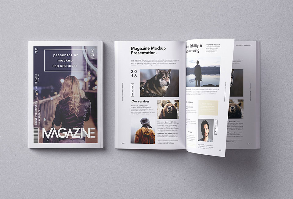 Back & Open Magazine Mockup