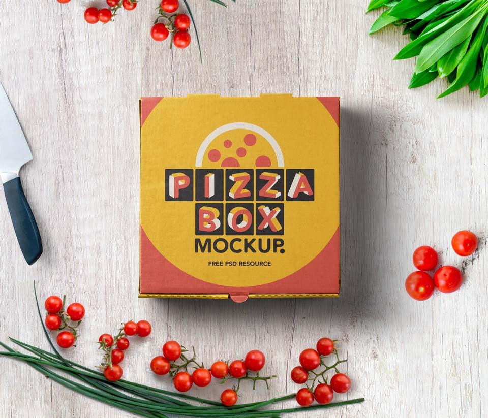 Free PSD Pizza Box Mockup