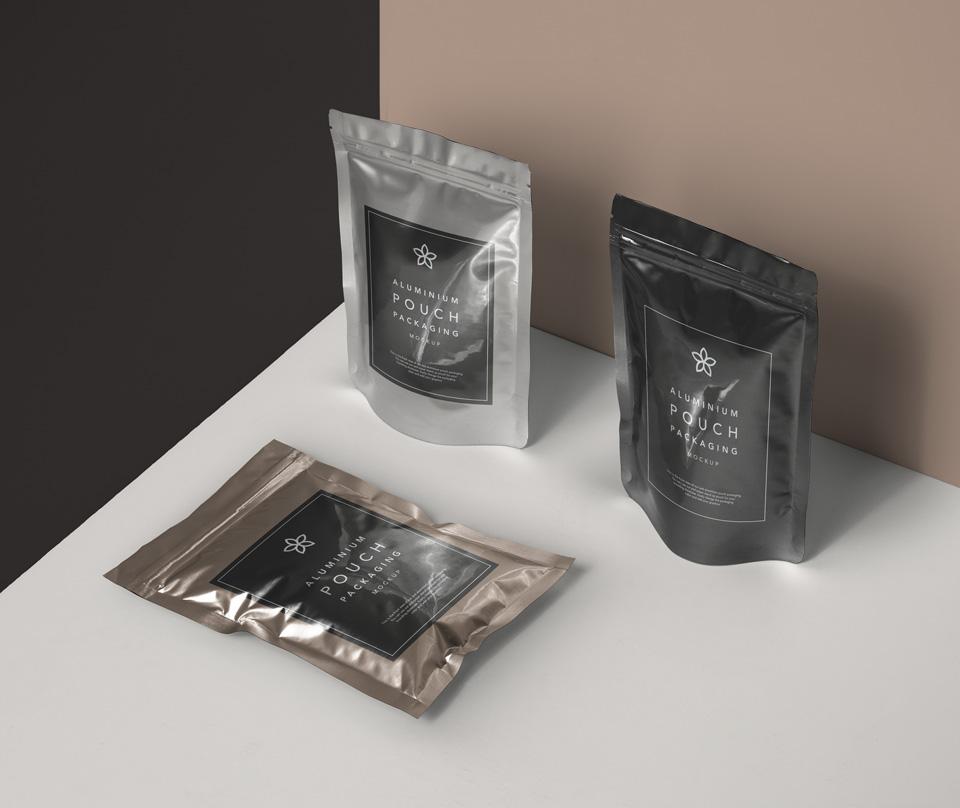 Free Metal Foil Pouch Mockup