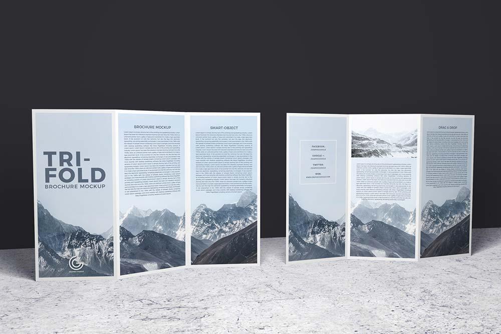 Free Sided Tri-Fold Brochure Mockup | Mockuptree