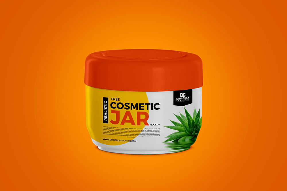 Free Realistic Cosmetic Jar Mockup