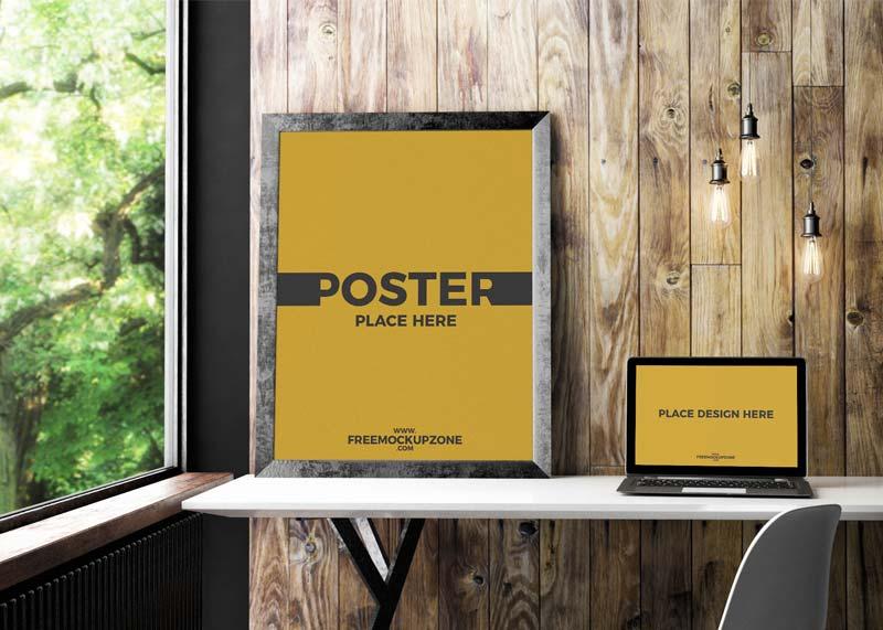 Free Laptop Poster Frame Mockup