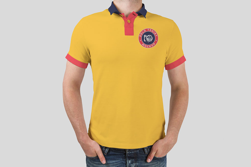 Free Man Polo T-Shirt Mockup