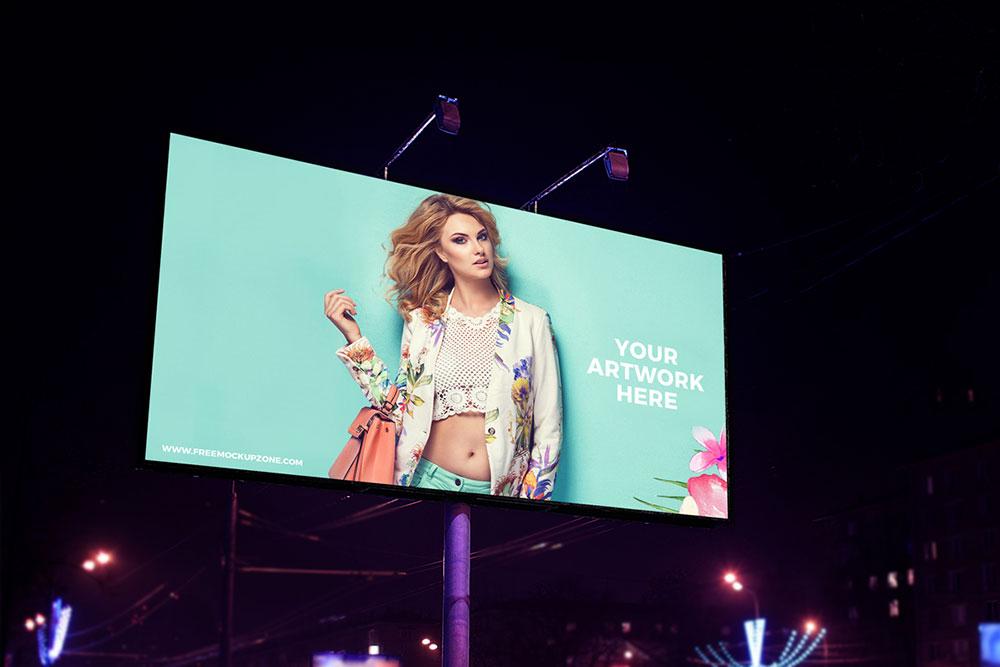 Free Night Scene Advertisement Billboard Mockup